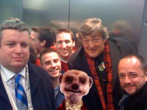 Picture of Orlov the Russian meerkat stuck in a lift