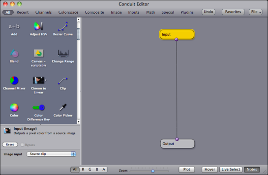 Conduit editor window in Motion