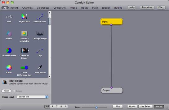 Conduit editor window in Motion