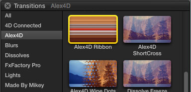 Alex4D Ribbon plugin in Final Cut Pro X transitions browser