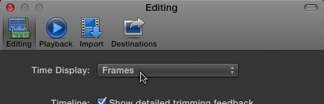 Change editing display preferences to 'Frames'