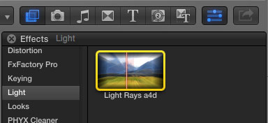 Light Rays icon in Final Cut Pro X palette