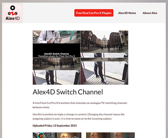 Final Cut Pro X Free Effect Friday: Alex4D Switch Channel